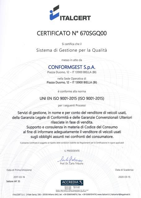 ConformGest España Certificación ITALCERT UNI EN ISO 9001-2015